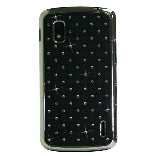 Exian Google LG Nexus 4 Hard Plastic Case silver Plated Embedded Crystals Black