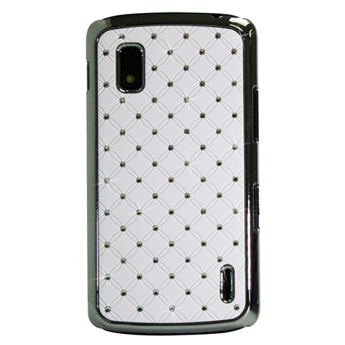 Exian Google LG Nexus 4 Hard Plastic Case silver Plated Embedded Crystals White