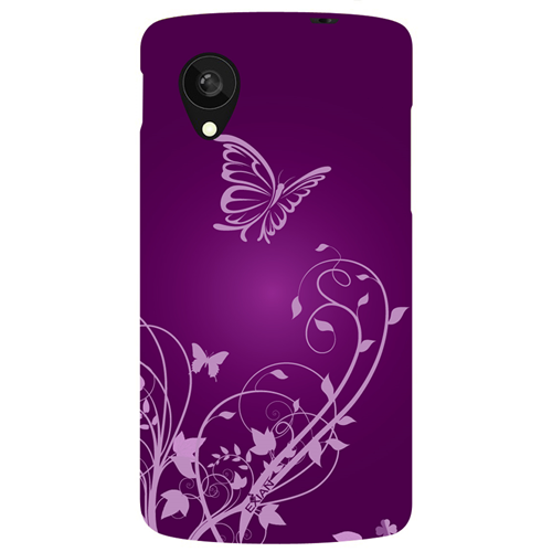 Exian LG Google Nexus 5 TPU Case Exian Design Flower & Butterfly Purple