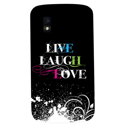 Exian Google LG Nexus 4 Hard Plastic Case Exian Design Live/Laugh/Love(2) Black