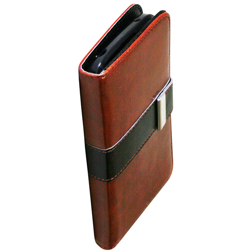 Exian Google LG Nexus 4 PU Leather Wallet with Black Stripe Brown