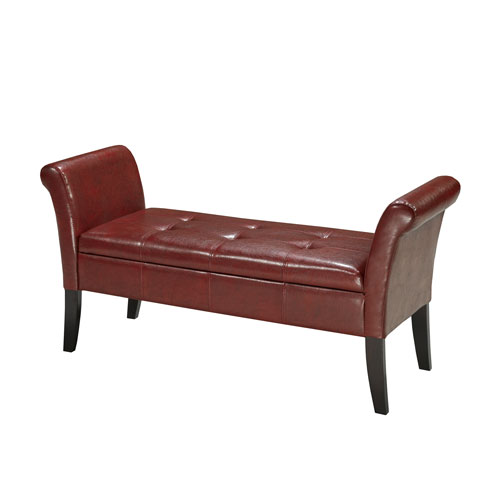 Magnificent Contemporary Faux Leather Entryway Storage Bench Red Theyellowbook Wood Chair Design Ideas Theyellowbookinfo