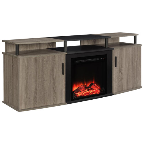 Dorel Carson Electric Fireplace Tv Stand With Logs Firebox