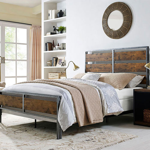Rustic Country Bed Frame (BCQSLRW) - Queen - Brown : Beds & Bed ...