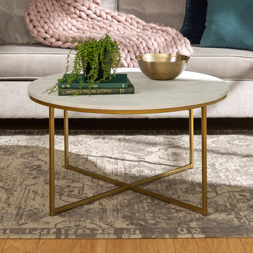 Buy Gold Coffee Table: Contemporary Coffee Table With X Base