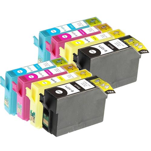 8x Imprimieux Cartouche d'Encre T127 2BK 2C 2Y 2M Compatible pour Epson Stylus NX530 NX625 Workforce 60 545 630 633 635 645 840 845 3520 3540 7010 7510 7520