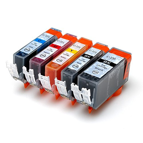 5x Imprimieux Ink Toner Cartridgges PGI-220 CLI-221 Compatible for Canon PIXMA MP540 MP545 MP560 MP568 MP620 MP620B MP6