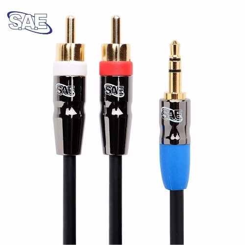 SAE 3.5mm Audio Jack Male to 2RCA Phono Plugs Male Aux Audio Cable 6FT