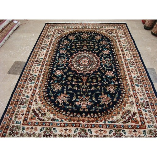 Exclusive Navy Blue Medallion Floral Oriental Hand Knotted Area Rug Wool Silk Carpet 9 X 6 Best Buy Canada