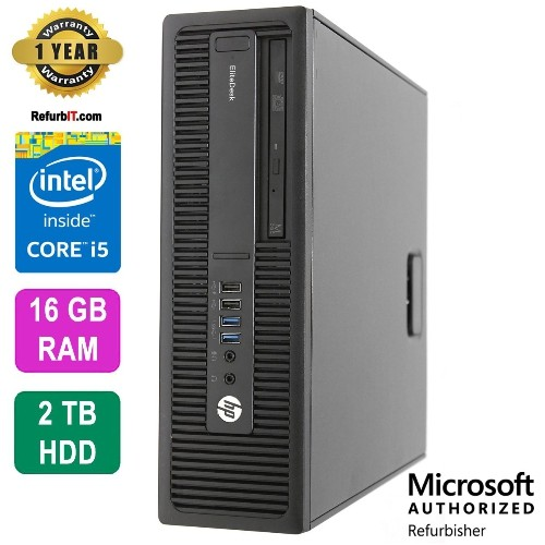 HP EliteDesk 800G1, Intel Core i5, 16GB RAM, 2TB HDD, DVD, Win10 Pro, 1 Year Warranty - Refurbished