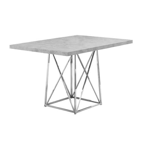 Dining Table 36x 48 Grey Cement Chrome Metal Dining Tables