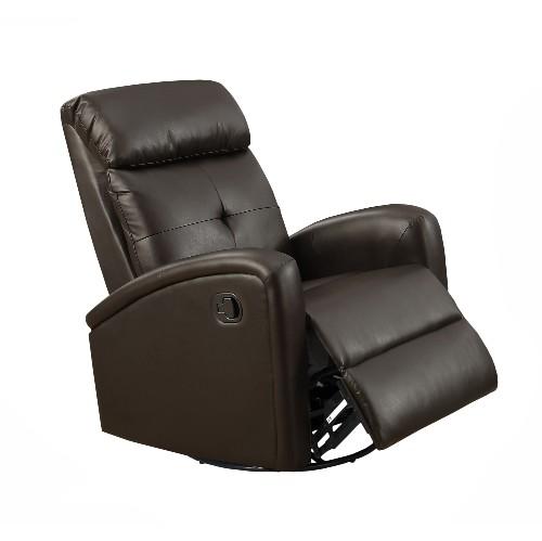 Monarch Specialties Leather Symmetrical Reclining Sofas ( I 8088Br ) - Dark Brown