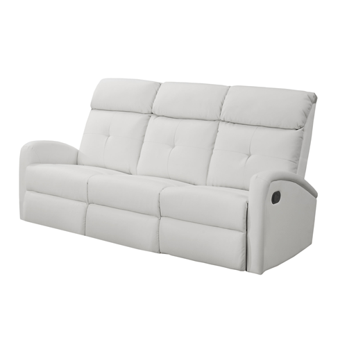 RECLINING-SOFA WHITE BONDED LEATHER