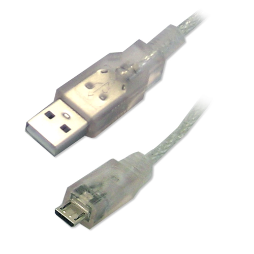 USB 2.0 Cable A-Micro B MM - 6ft - Clear