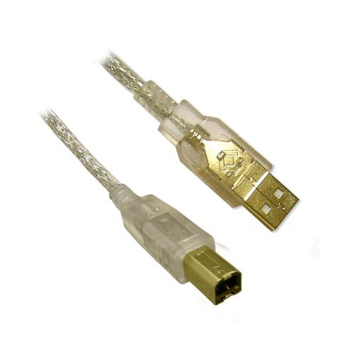 USB 2.0 AB Cable - MM, Clear, 3ft