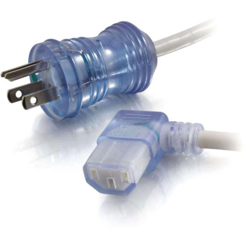 C2G 2ft 16 AWG Hospital Grade Power Cord (NEMA 5-15P to IEC320C13R) - Gray with Clear Connectors