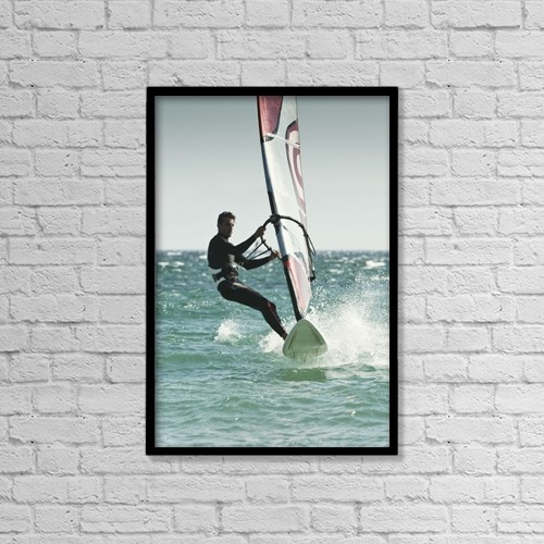 "Printscapes Wall Art: 12"" x 18"" Canvas Print With Black Frame - Windsurfing; Tarifa, Cadiz, Andalusia, Spain by Ben Welsh"