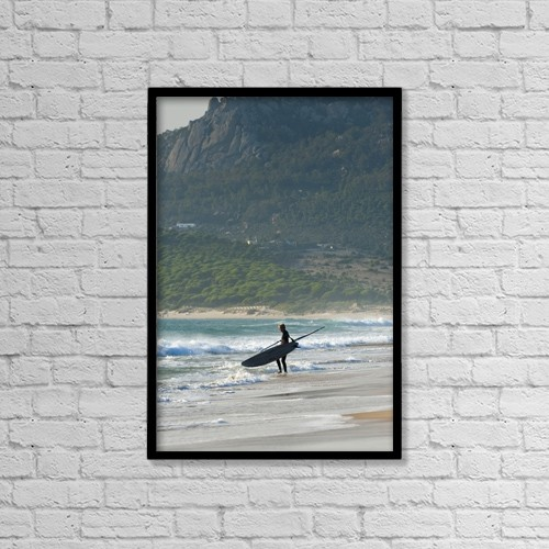 "Printscapes Wall Art: 12"" x 18"" Canvas Print With Black Frame - Windsurfer Standing On The Beach by Ben Welsh"