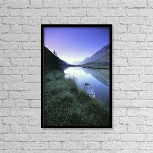 "Printscapes Wall Art: 12"" x 18"" Canvas Print With Black Frame - Canoe Sits At Lake Side Kenai Mtns Sunrise by Jeff Schultz"