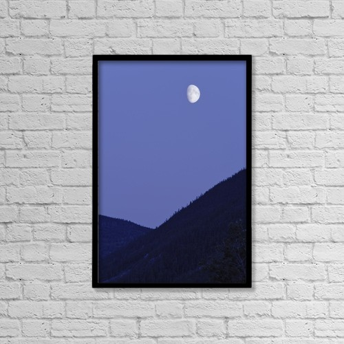 "Printscapes Wall Art: 12"" x 18"" Canvas Print With Black Frame - View Of Moon And Mountains, Gaspesie, Quebec by Yves Marcoux"
