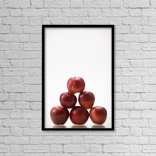 "Printscapes Wall Art: 12"" x 18"" Canvas Print With Black Frame - Pyramid Of Organic Apples by Greg Huszar Photography"
