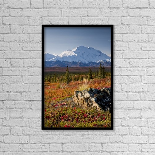 "Printscapes Wall Art: 12"" x 18"" Canvas Print With Black Frame - Scenic View Of Mt by Lynn Wegener"