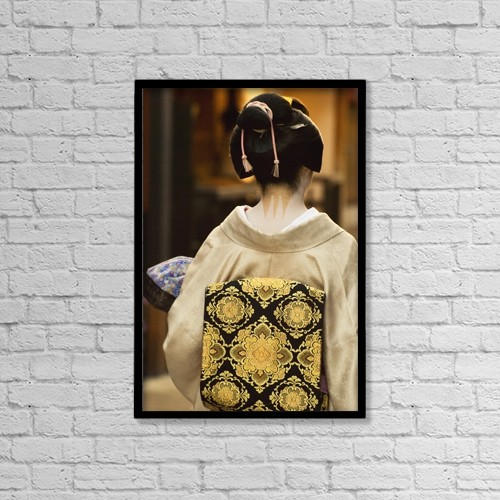 "Printscapes Wall Art: 12"" x 18"" Canvas Print With Black Frame - Geisha Showing Her Nape Make-Up And Obi by Philippe Widling"