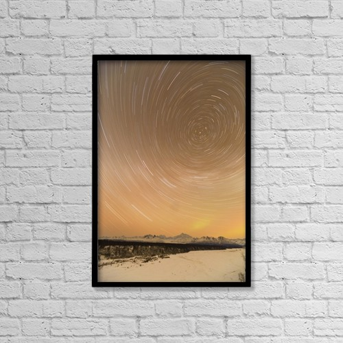 "Printscapes Wall Art: 12"" x 18"" Canvas Print With Black Frame - Night Time View Of Star Trails Over Mt by Kevin G. Smith"