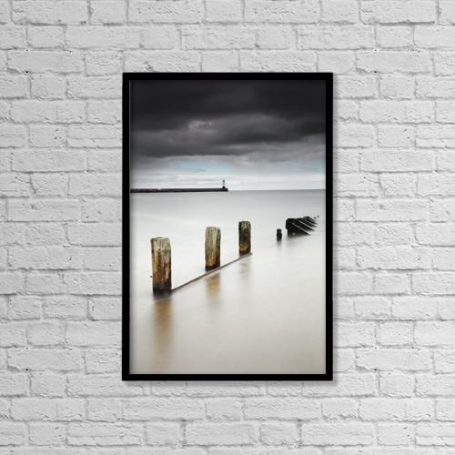 "Printscapes Wall Art: 12"" x 18"" Canvas Print With Black Frame - Wooden posts in the tranquil water by John Short"
