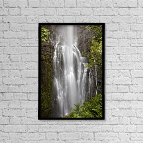 "Printscapes Wall Art: 12"" x 18"" Canvas Print With Black Frame - Hawaii, Maui, Kipahulu, Wailua falls by Jenna Szerlag"