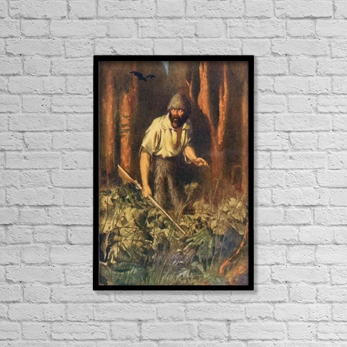 "Printscapes Wall Art: 12"" x 18"" Canvas Print With Black Frame - Robinson Crusoe Alone On The Island by Ken Welsh"
