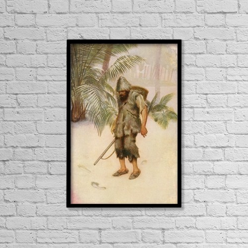 "Printscapes Wall Art: 12"" x 18"" Canvas Print With Black Frame - Robinson Crusoe Sees A Footprint In The Sand by Ken Welsh"