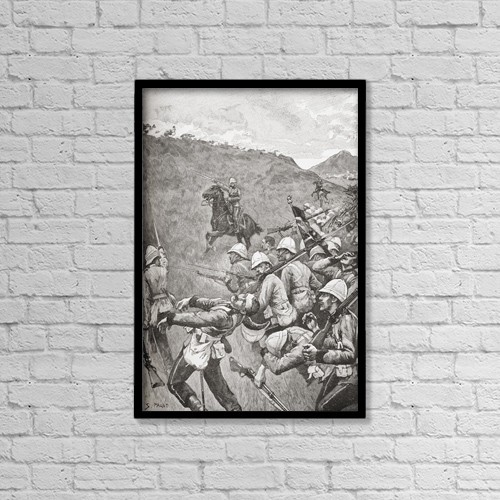 "Printscapes Wall Art: 12"" x 18"" Canvas Print With Black Frame - The Battle Of Majuba Hill, South Africa In 1881 by Ken Welsh"