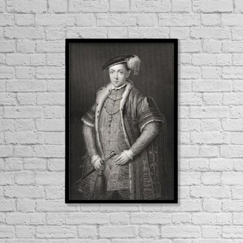 "Printscapes Wall Art: 12"" x 18"" Canvas Print With Black Frame - Edward Vi, 1537 by Ken Welsh"