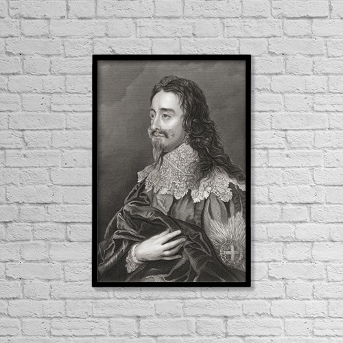 """Printscapes Wall Art: 12"""" x 18"""" Canvas Print With Black Frame - Charles I, 1600 by Ken Welsh"""