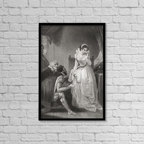 """Printscapes Wall Art: 12"""" x 18"""" Canvas Print With Black Frame - Lady Jane Grey Declining The Throne by Ken Welsh"""