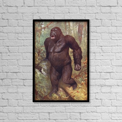 "Printscapes Wall Art: 12"" x 18"" Canvas Print With Black Frame - Gorilla by Ken Welsh"