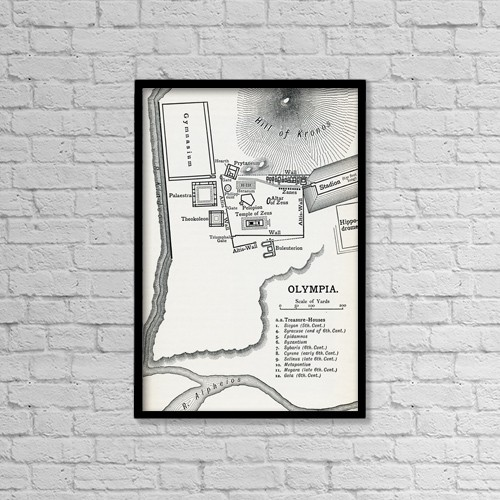 "Printscapes Wall Art: 12"" x 18"" Canvas Print With Black Frame - Plan Of Olympia, Elis, Greece by Ken Welsh"