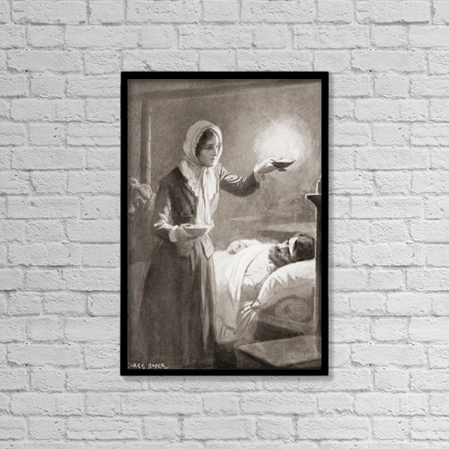 "Printscapes Wall Art: 12"" x 18"" Canvas Print With Black Frame - Florence Nightingale, 1820 by Ken Welsh"