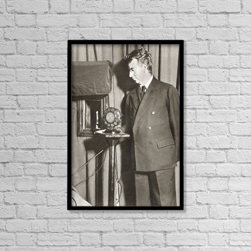 "Printscapes Wall Art: 12"" x 18"" Canvas Print With Black Frame - John Logie Baird, 1888 - 1946 by Ken Welsh"