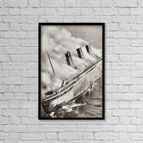 "Printscapes Wall Art: 12"" x 18"" Canvas Print With Black Frame - The Ocean Liner S by Ken Welsh"