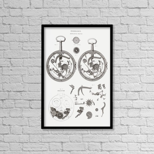 """Printscapes Wall Art: 12"""" x 18"""" Canvas Print With Black Frame - Repeating Watch by Ken Welsh"""