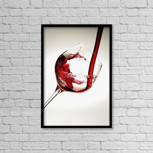 "Printscapes Wall Art: 12"" x 18"" Canvas Print With Black Frame - Red wine pouring into a glass by Richard Desmarais"