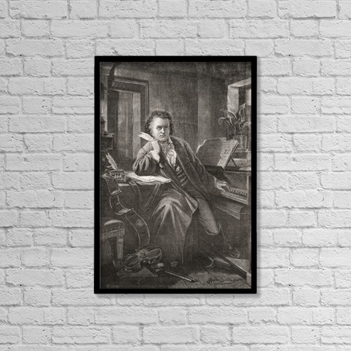 "Printscapes Wall Art: 12"" x 18"" Canvas Print With Black Frame - Ludwig Van Beethoven, 1770 - 1827 by Ken Welsh"