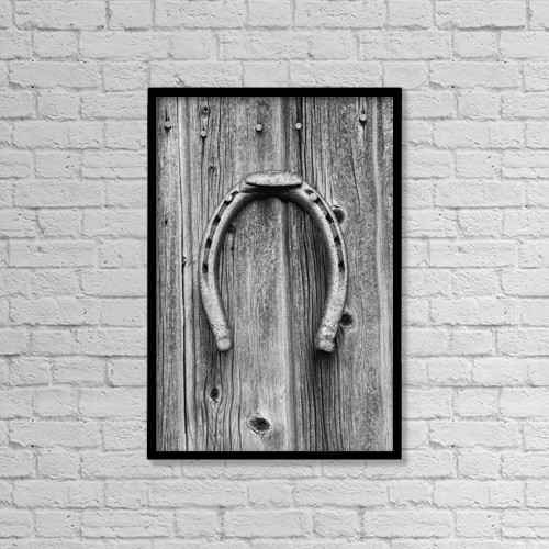 "Printscapes Wall Art: 12"" x 18"" Canvas Print With Black Frame - Horseshoe Hung On A Wooden Wall by David Chapman"