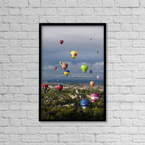 "Printscapes Wall Art: 12"" x 18"" Canvas Print With Black Frame - Bristol Balloon Fiesta by Doug McKinlay"