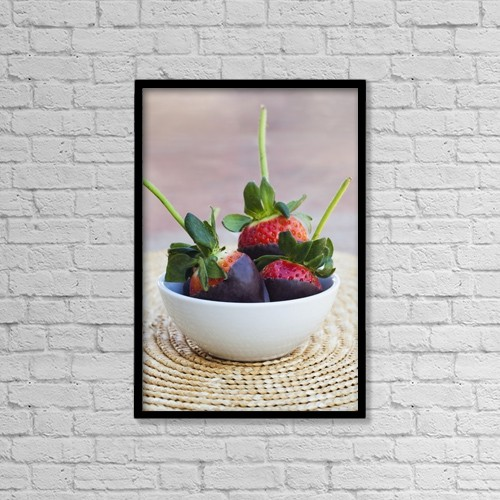 "Printscapes Wall Art: 12"" x 18"" Canvas Print With Black Frame - Chocolate Covered Strawberries In A Bowl by Brandon Tabiolo"