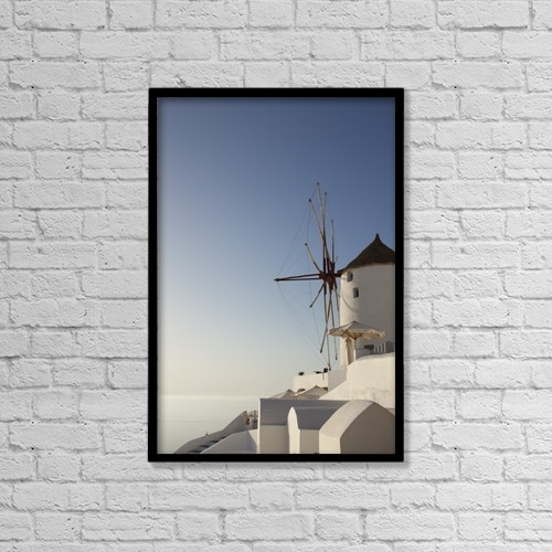 """Printscapes Wall Art: 12"""" x 18"""" Canvas Print With Black Frame - Greece, Windmill; Oia by Lars Froelich"""