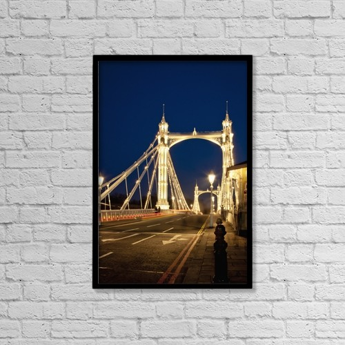 "Printscapes Wall Art: 12"" x 18"" Canvas Print With Black Frame - UK, England, Albert Bridge at night; London by Dosfotos"