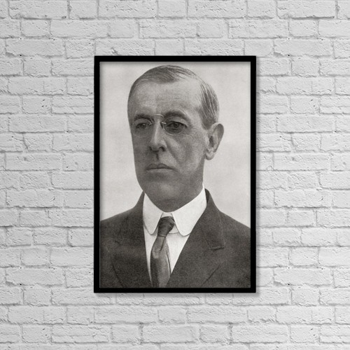 "Printscapes Wall Art: 12"" x 18"" Canvas Print With Black Frame - Thomas Woodrow Wilson, 1856 by Ken Welsh"